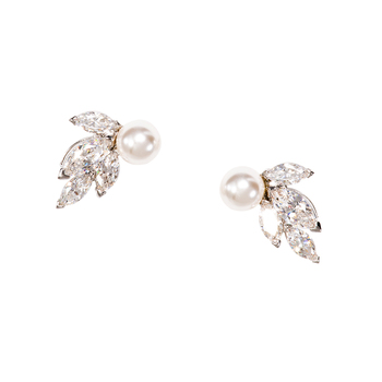 Swarovski Louison Pearl Pierced Earrings Rhodium Plated