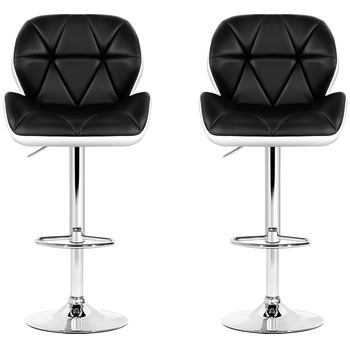 Artiss Black & White Gaslift Swivel Barstool with Rhombus Motif 2pk
