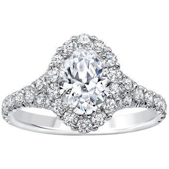 Oval and Round Brilliant Cut 2.00ctw 18KT White Gold Diamond Bridal Ring