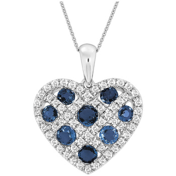 Heart Pendant 18KT White Gold Sapphire and Diamond Pendant