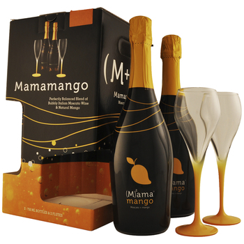 Mamamango Moscato Twin Pack with Flutes 2 x 750mL