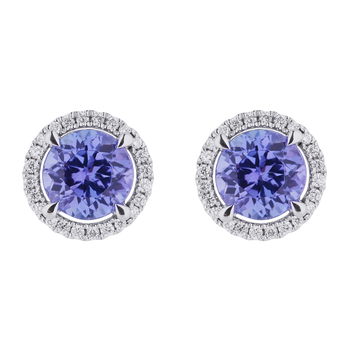 Round 18KT White Gold Tanzanite and Diamond Earrings