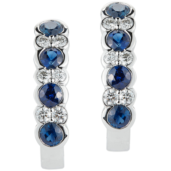 18KT White Gold Sapphire and Diamond Earrings