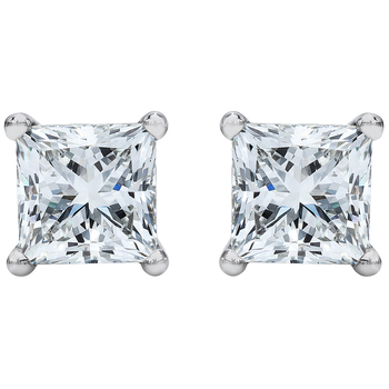 Princess Cut 3.00ctw Diamond Platinum Stud Earrings