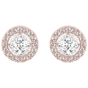 Round Brilliant Cut 0.33ctw Diamond 18KT Two Tone Gold Earrings