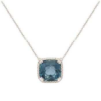 14KT White Gold London Blue Topaz and Diamond Necklace