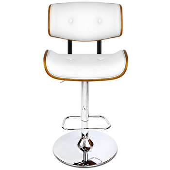 Artiss White Gaslift Swivel Barstool with Wooden Seat