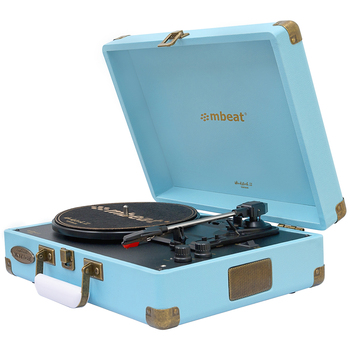 mbeat Woodstock II Sky Blue Retro Turntable Player MB-TR96BLU