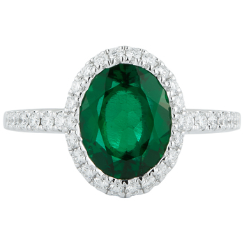 Round 18KT White Gold Lab Created Emerald and Diamond Ring