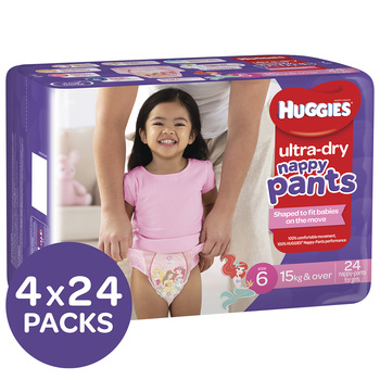 Huggies Ultra Dry Nappy Pants Size 6 15+kg Girls 4x24 Pack