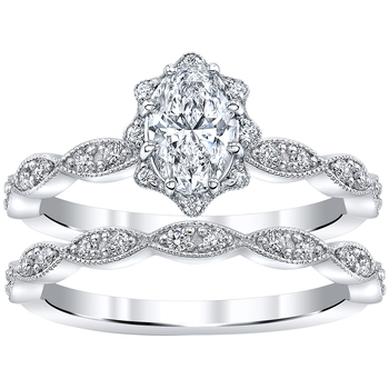 18KT White Gold 1.00ctw Diamond Bridal Ring Set