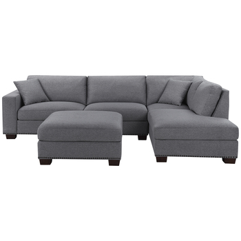 Thomasville Grey Fabric Sectional with Ottoman