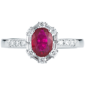 18KT White Gold Ruby and Diamond Ring
