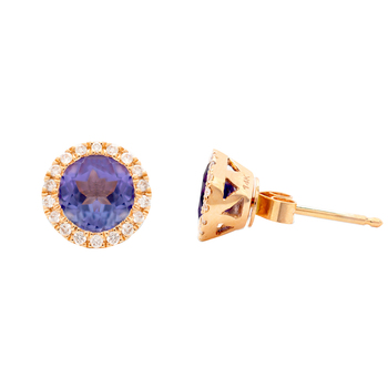 14KT Rose Gold Tanzanite and Diamond Earring