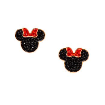 Swarovski Mickey & Minnie Pierced Earrings Black
