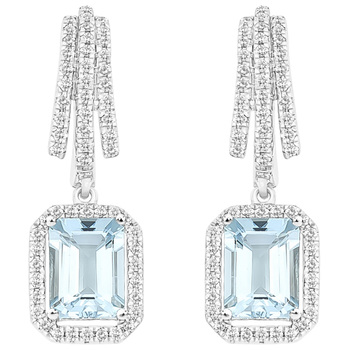 18KT White Gold Emerald Cut Aquamarine and Diamond Earrings
