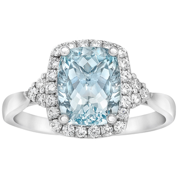 18KT White Gold Aquamarine and Diamond Ring