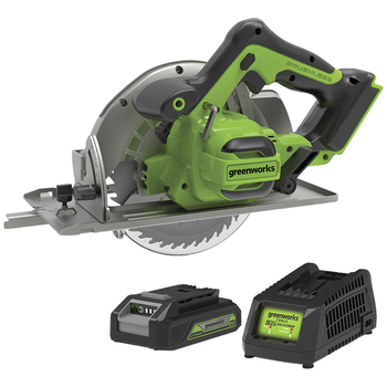 "Greenworks 24V Brushless Circular Saw (7.25"") kit with 2Ah battery & Fast Charger"