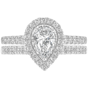 18KT White Gold 1.25ctw Pear and Round Brilliant Cut Diamond Bridal Ring Set