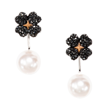 Swarovski Latisha Pierced Earring Jackets, Black, Mixed Metal Finish