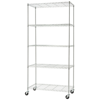 TRINITY Basics 5 Tier Shelving Rack Chrome