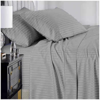 Ramesses 1000 TC Pima Cotton Narrow Stripe Queen Sheet Set