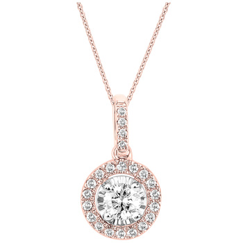 Round Brilliant Cut 0.33ctw Diamonds 18KT Two Tone Gold Pendant