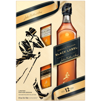 Johnnie Walker Black Label Blended Scotch Whisky 700ml + 2 x 50ml Miniatures Gift Pack