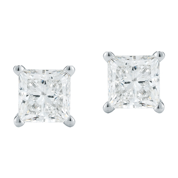Princess 0.80ctw 18KT White Gold Diamond Solitaire Studs
