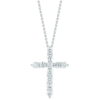 18KT White Gold Round Brilliant Cut 1.00CTW Diamond Cross Pendant
