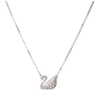 Swarovski Iconic Swan Necklace White & Rhodium Plated