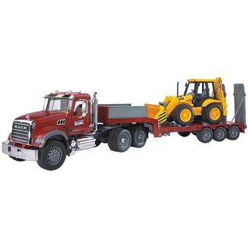 Bruder 1:16 MACK Granite Low Loader with JCB 4CX Backhoe Loader