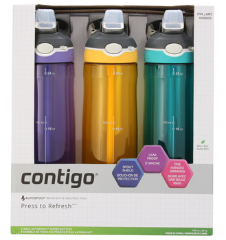 Contigo Autospout Straw Ashland Water Bottle 3pk