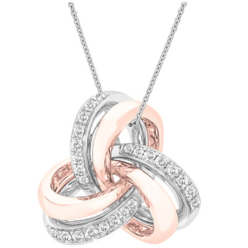 Round Brilliant Cut 0.15ctw Diamonds 18KT Two Tone Gold Love Knot Pendant