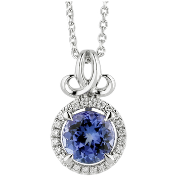 18KT White Gold Tanzanite & Diamond Pendant