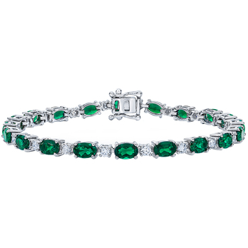 18KT White Gold Lab Created Emerald and Diamond Bracelet