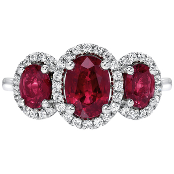 18KT White Gold Ruby & Diamond Ring