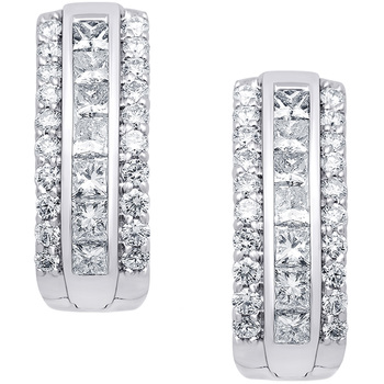 Round Brilliant Cut and Princess Cut 1.45ctw Diamond 18KT White Gold Hoop Earrings