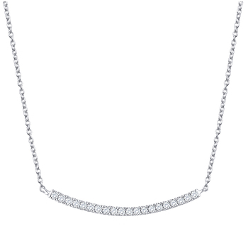 Round Brilliant Cut 0.15ctw Diamonds 18KT White Gold Necklace