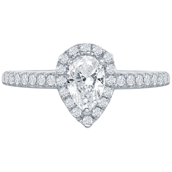 18KT White Gold 0.77ctw Pear and Round Brilliant Diamond Ring