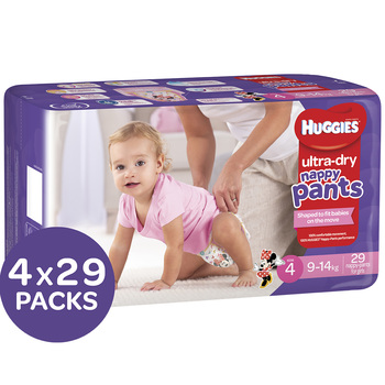 Huggies Ultra Dry Nappy Pants Size 4 9-14kg Girls 4x29 Pack