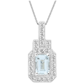 18KT White Gold Emerald Cut Aquamarine & Diamond Pendant