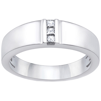 Men's Princess Cut 0.15ctw Diamond 18KT White Gold Ring