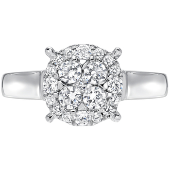 Round Brilliant and Princess Cut 0.48ctw 18KT White Gold Diamond Ring