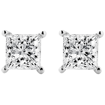 Princess 1.00ctw 18KT White Gold Diamond Studs