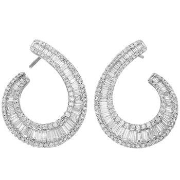18KT White Gold 1.60ctw Round Brilliant and Baguette Diamond Earrings