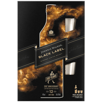 Johnnie Walker Black Label Scotch Whisky 700mL + Tumblers Giftpack