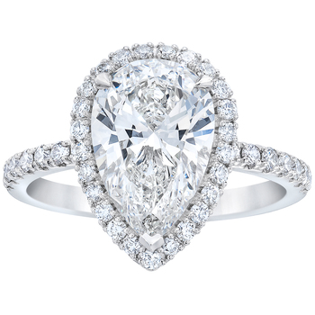 Platinum 3.46ctw Pear and Round Brilliant Cut Diamond Ring