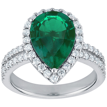 18KT White Gold Lab Created Emerald and Diamond Ring