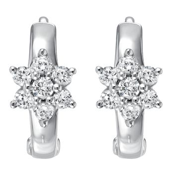 Round Brilliant Cut 0.25ctw 18KT White Gold Diamond Earrings
